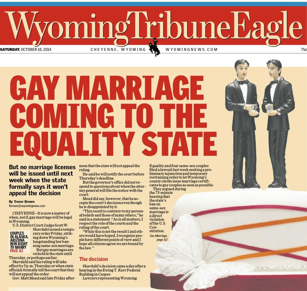 Gay Marriage Coming to the Equality State
