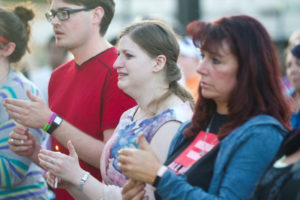 Holli Weldon, second from left, and the people attend the vigil for the Orlando victims Thursday, Jun. 16, 2016, at the Depot Plaza in Cheyenne. 49 people were killed at a gay nightclub in Florida early Sunday morning, the deadliest mass shooting in United States history. Hugh Carey/Wyoming Tribune Eagle